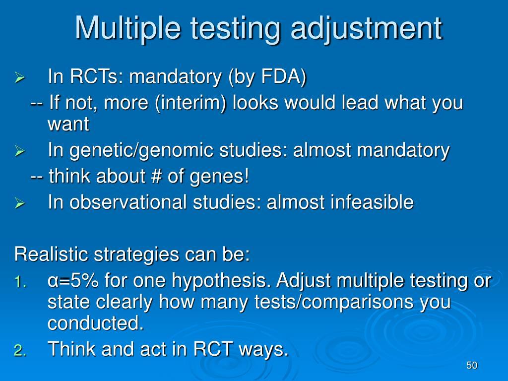 Multiple testing adjustment