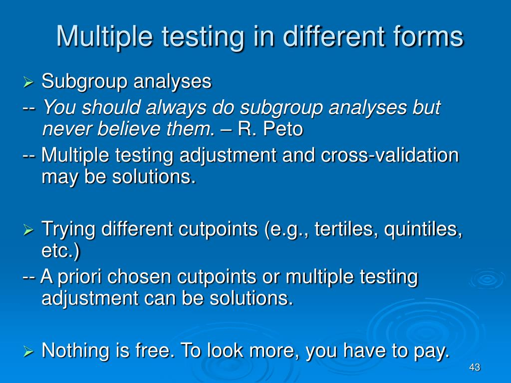 Multiple testing in different forms