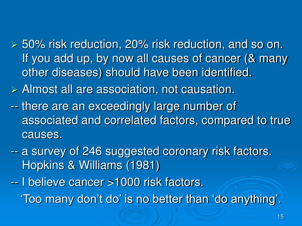 50% risk reduction, 20% risk reduction, and so on.  If you add up, by now all causes of cancer (& many other diseases) should have been identified.