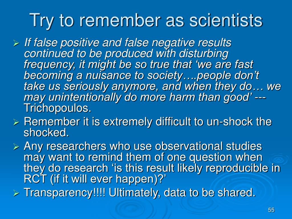 Try to remember as scientists