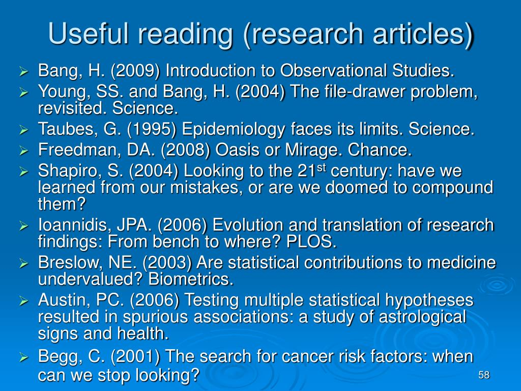 Useful reading (research articles)
