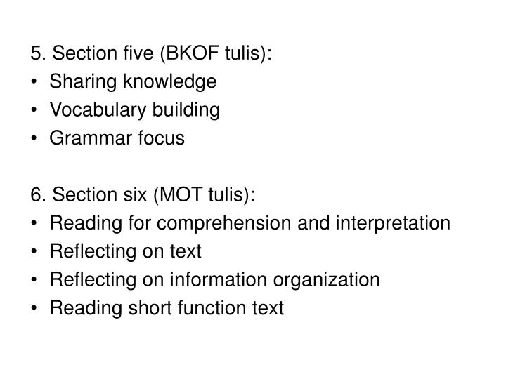 5. Section five (BKOF tulis):