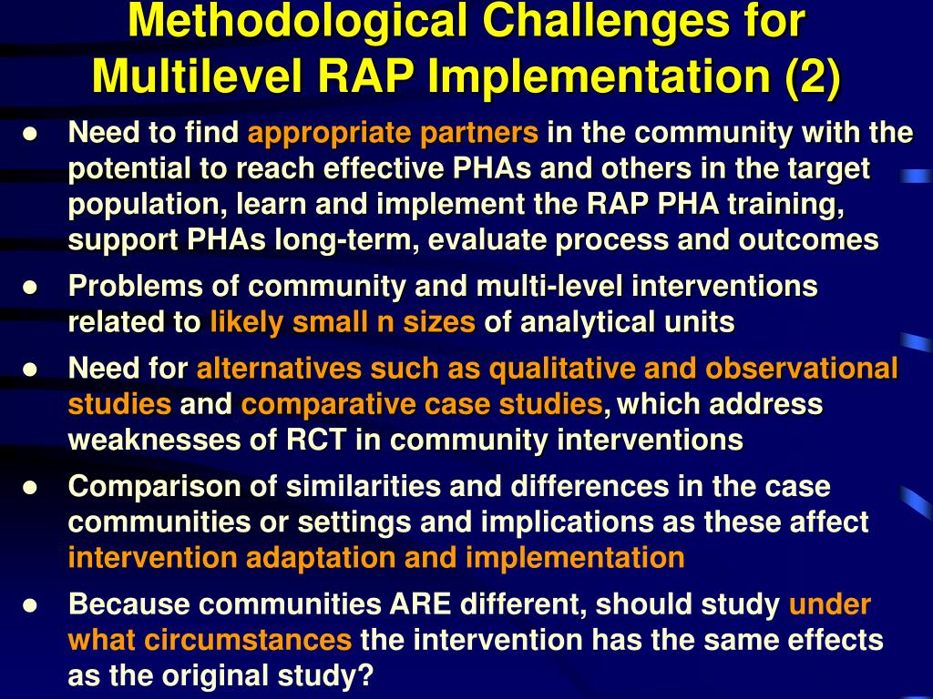 Methodological Challenges for Multilevel RAP Implementation (2)