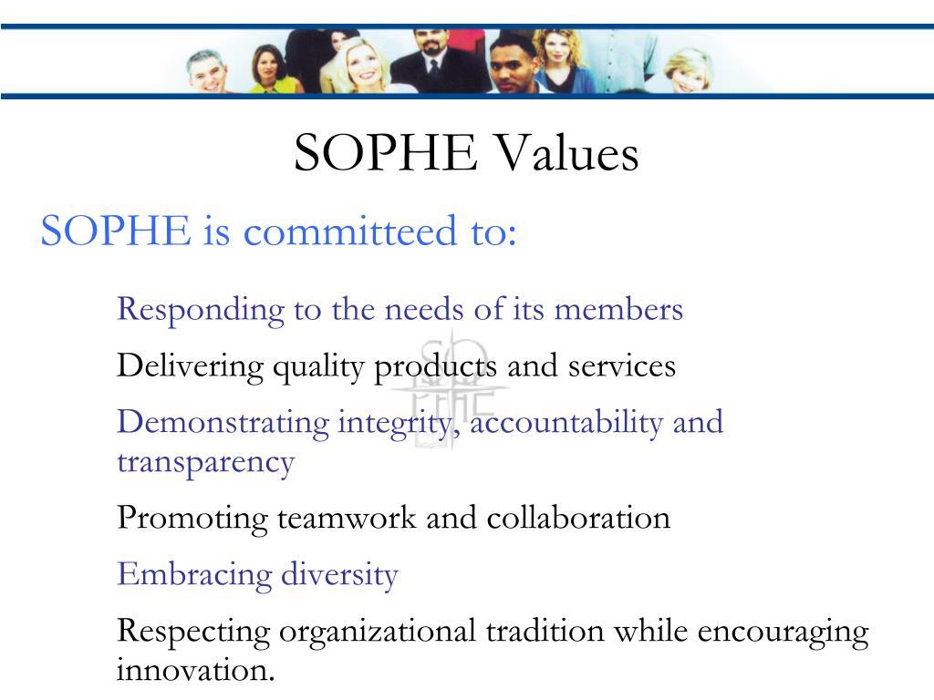 SOPHE Values