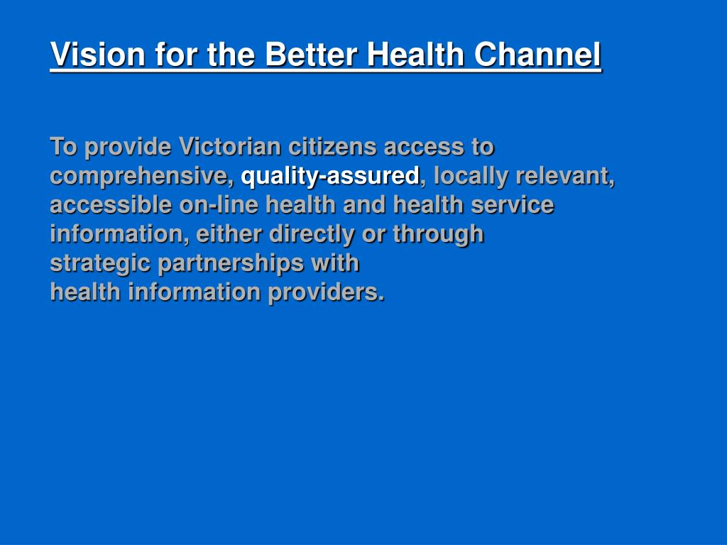 Vision for the Better Health Channel