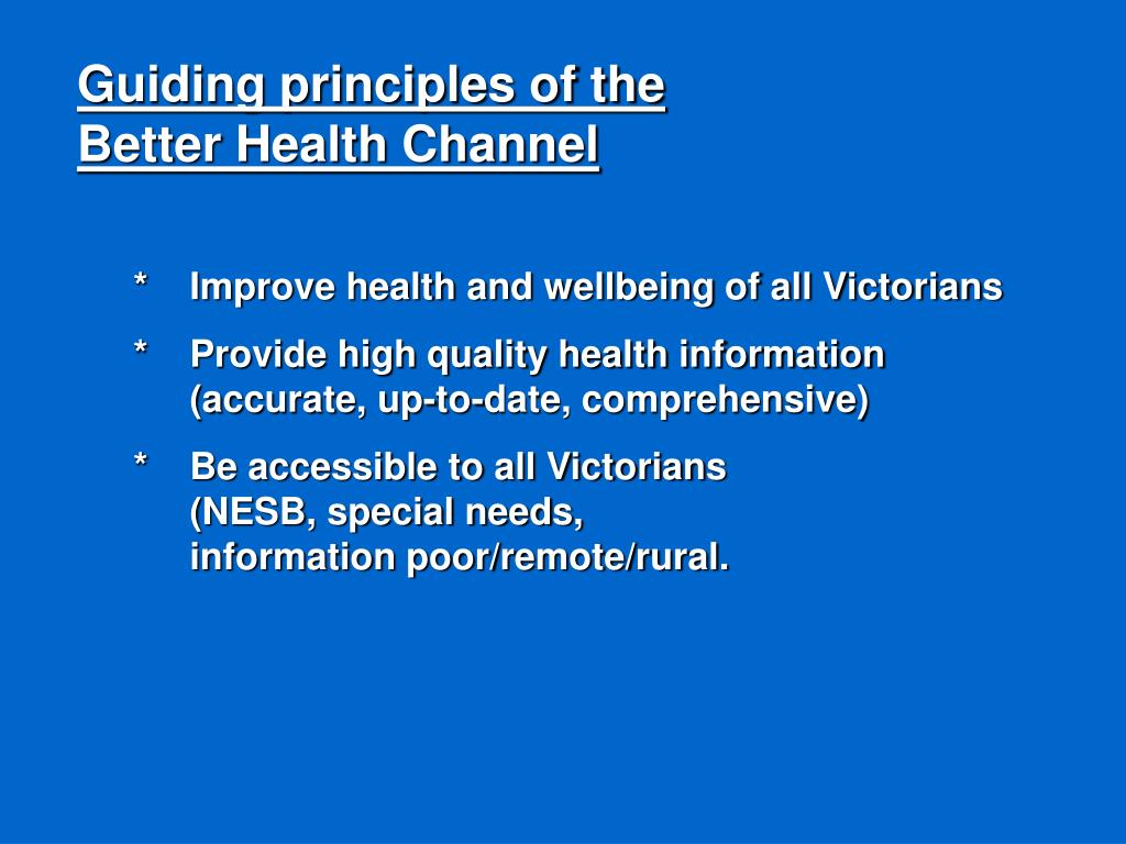 Guiding principles of the