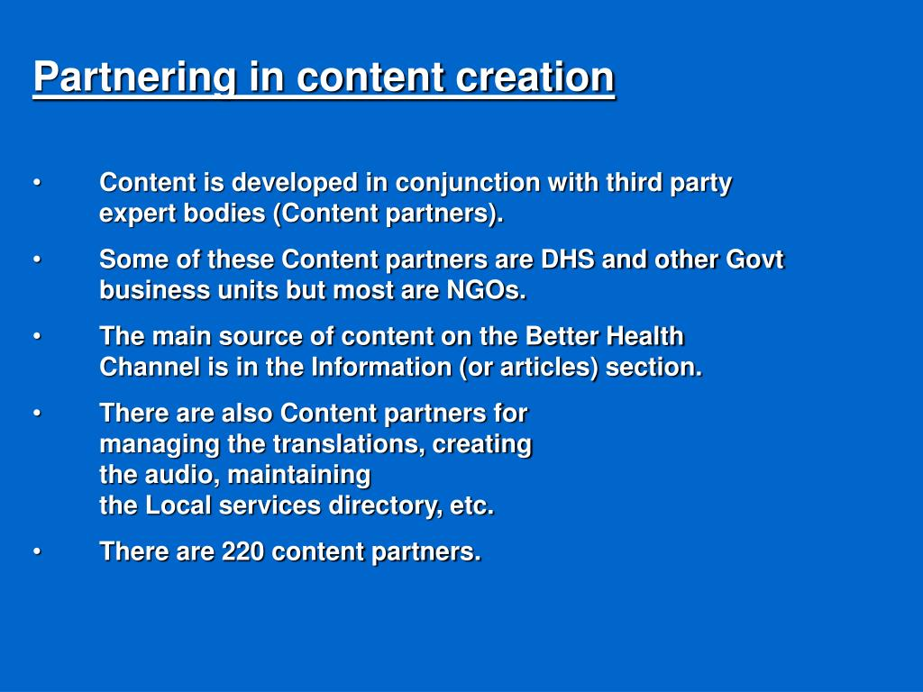 Partnering in content creation