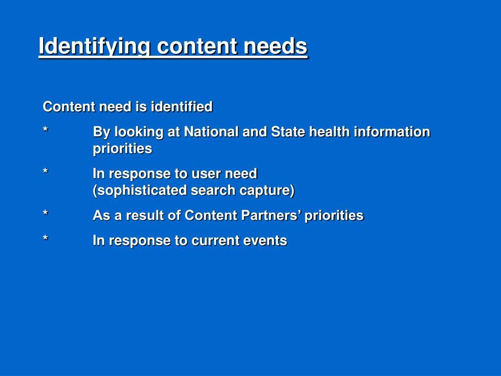 Identifying content needs