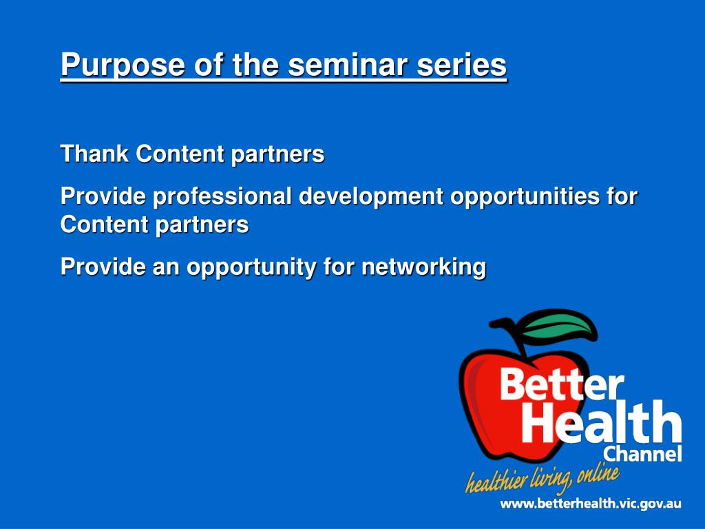 Purpose of the seminar series