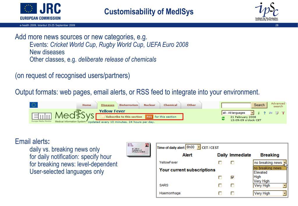 Customisability of MedISys