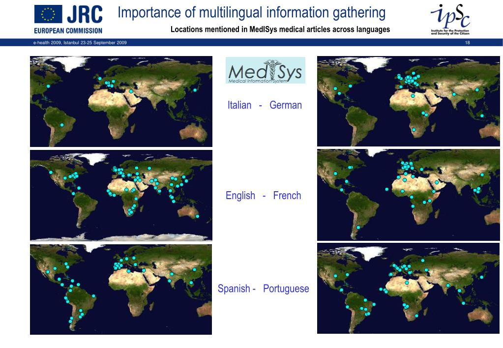 Locations mentioned in MedISys medical articles across languages