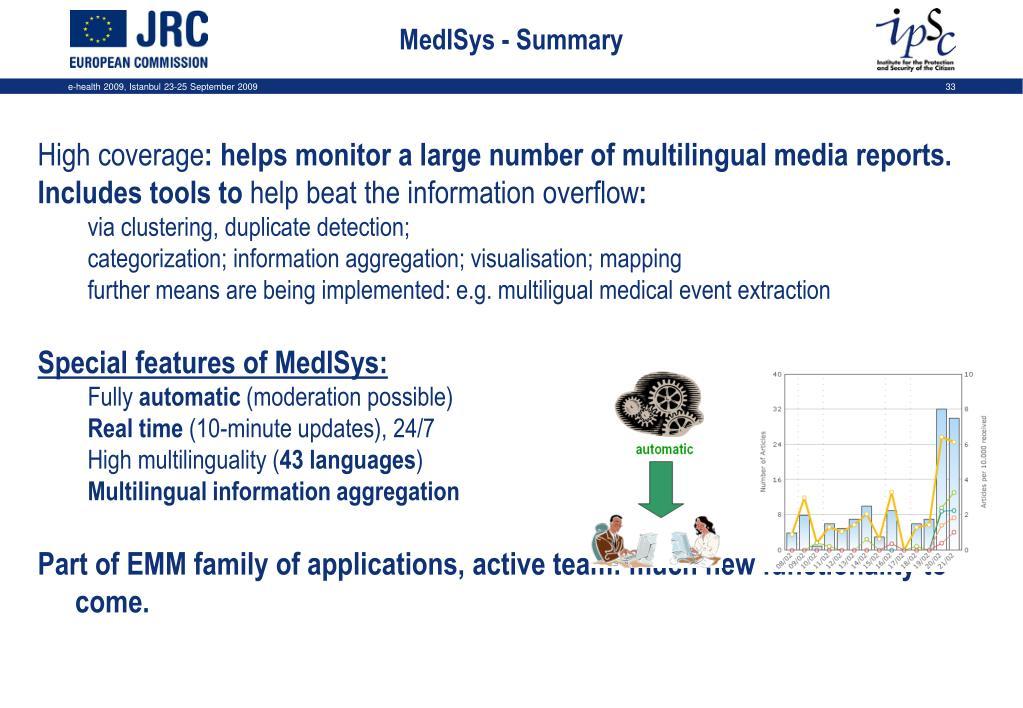 MedISys - Summary