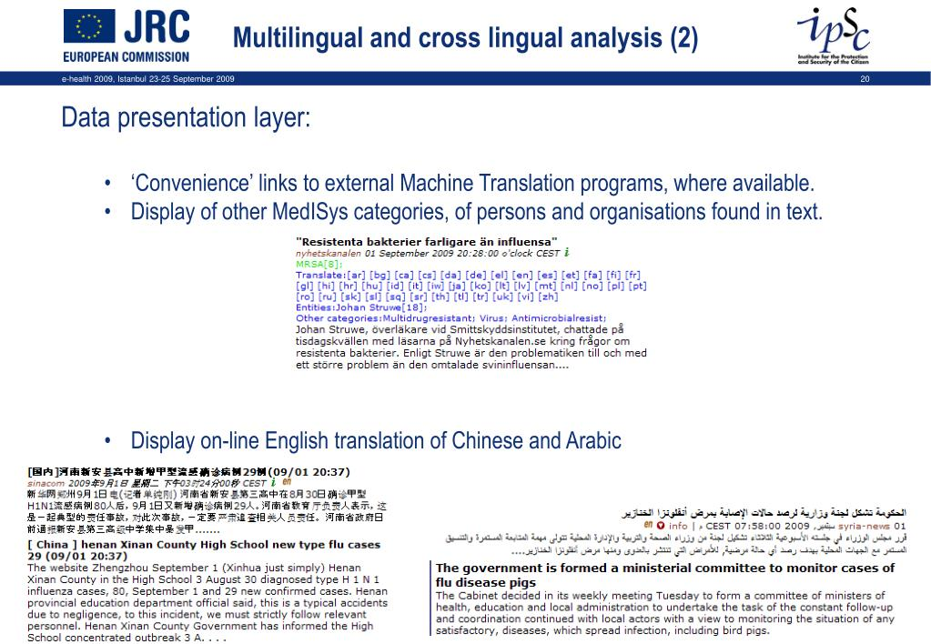 Multilingual and cross lingual analysis (2)