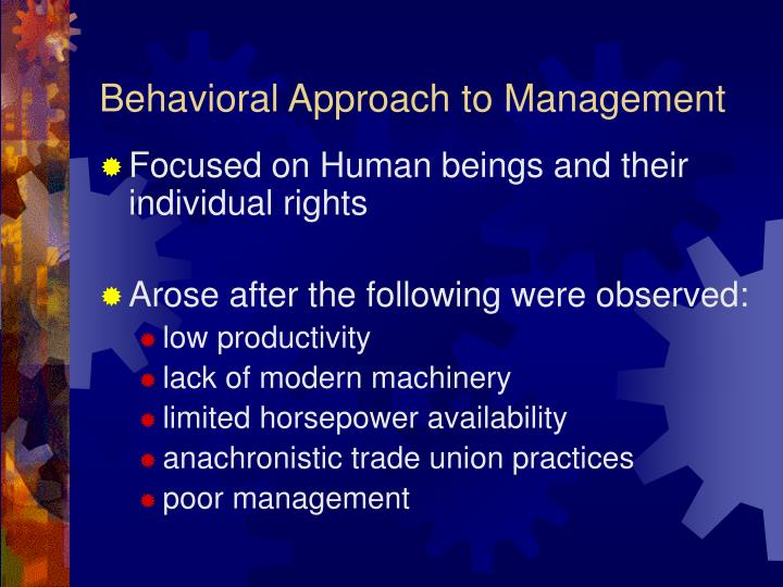 elton mayo behavioral approach Define the behavioral approaches which maximize potential within a company or   mary parker follett, hugo munsterberg, and elton mayo are all considered.