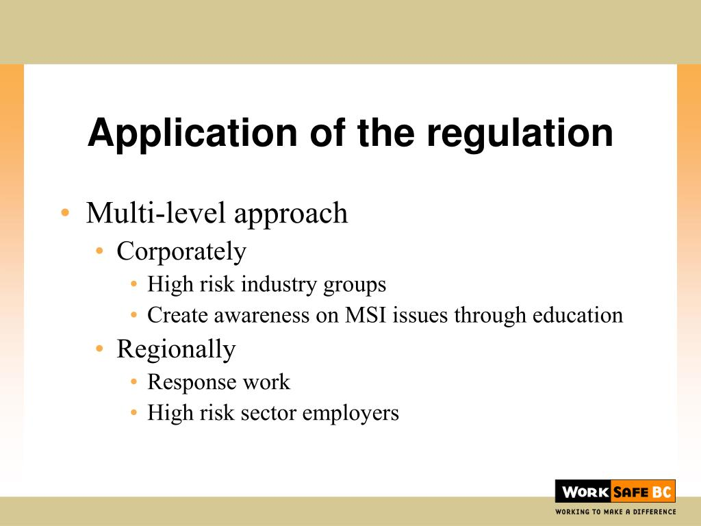 Application of the regulation