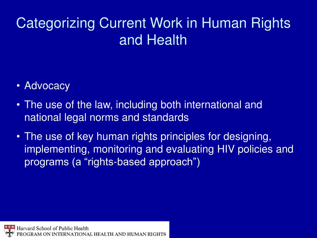 Categorizing Current Work in Human Rights and Health
