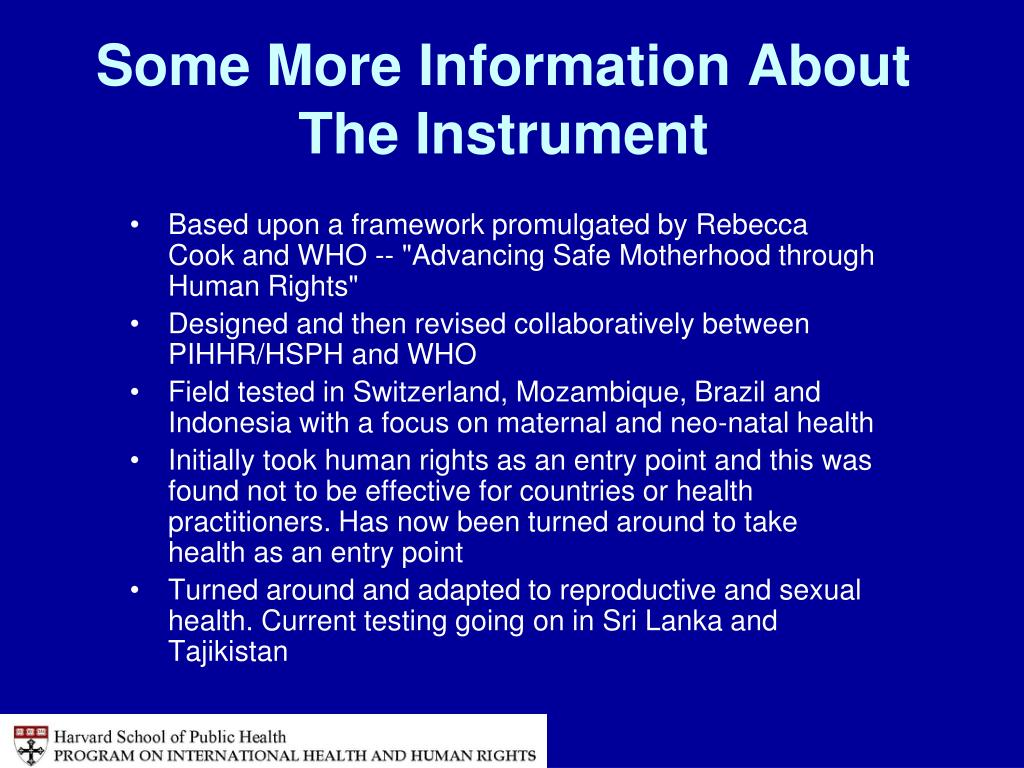 Some More Information About The Instrument