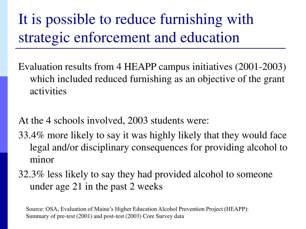 It is possible to reduce furnishing with strategic enforcement and education