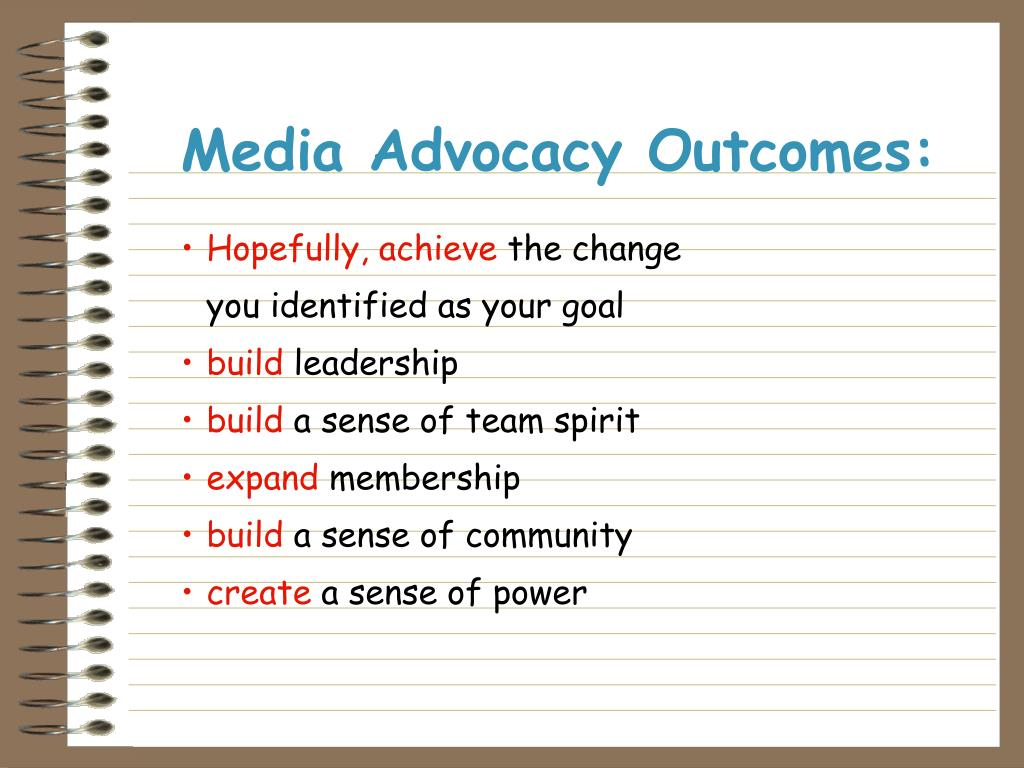 Media Advocacy Outcomes: