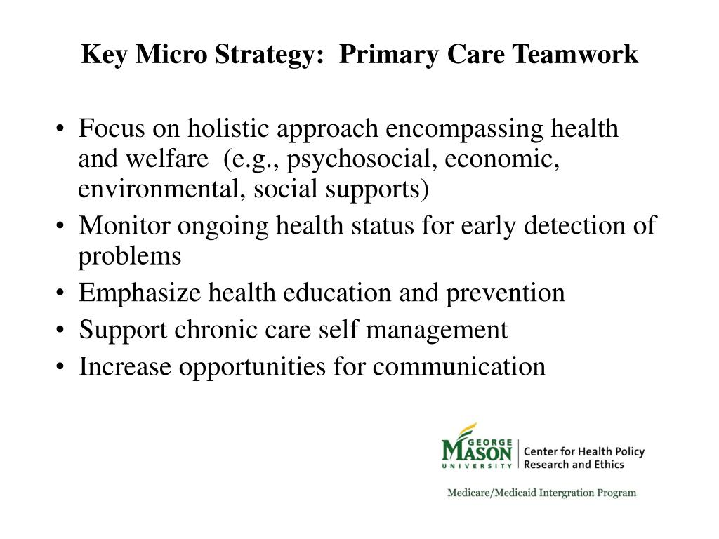 Key Micro Strategy:  Primary Care Teamwork