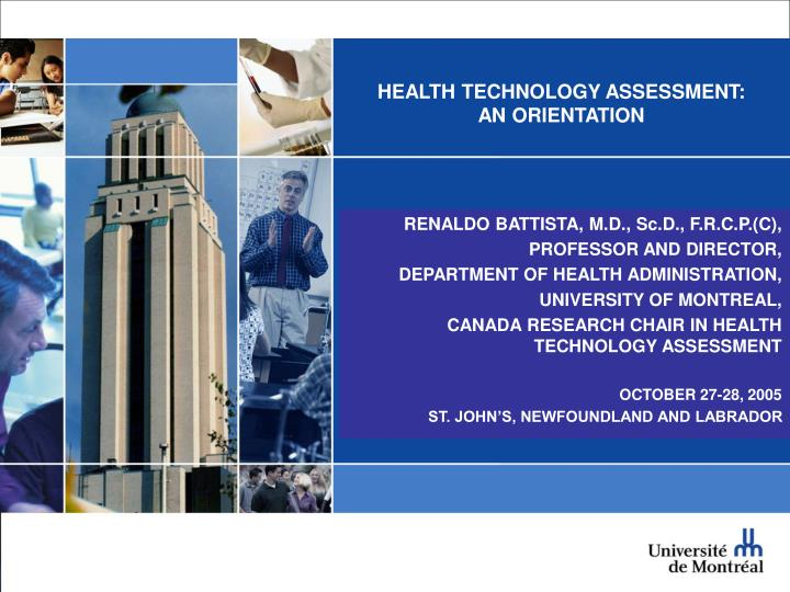 Health technology assessment an orientation