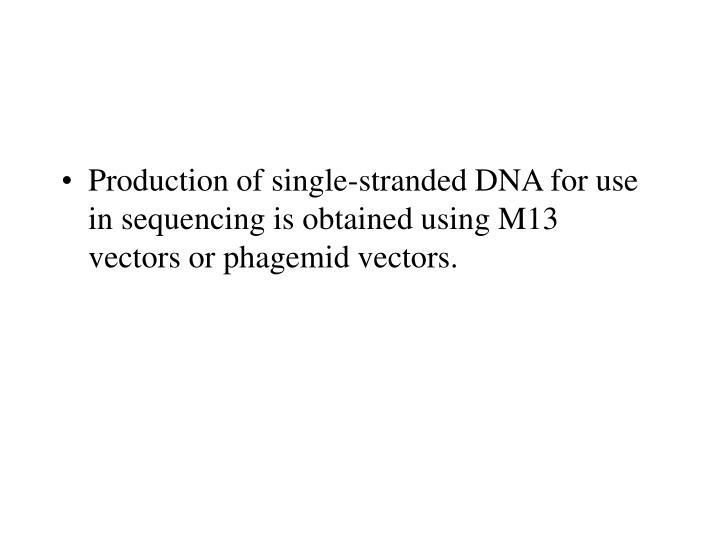 Production of single-stranded DNA for use in sequencing is obtained using M13 vectors or phagemid vectors.