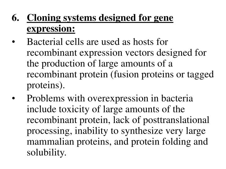 Cloning systems designed for gene expression: