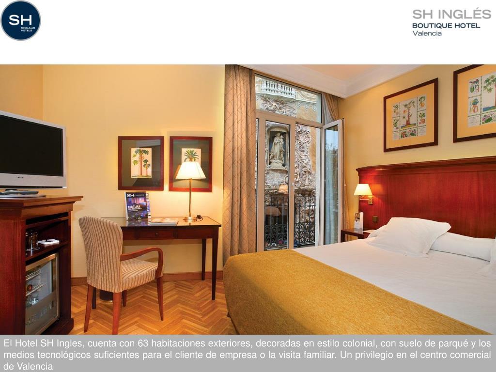 El Hotel SH Ingles, cuenta con 63 habitaciones exteriores, decoradas en estilo colonial, con suelo de parqué y los medios tecnológicos suficientes para el cliente de empresa o la visita familiar.