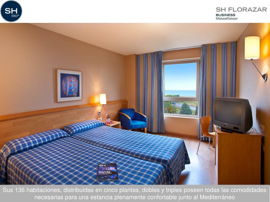 Sus 136 habitaciones, distribuidas en cinco plantas, dobles y triples poseen todas las comodidades necesarias para una estancia plenamente confortable junto al Mediterráneo