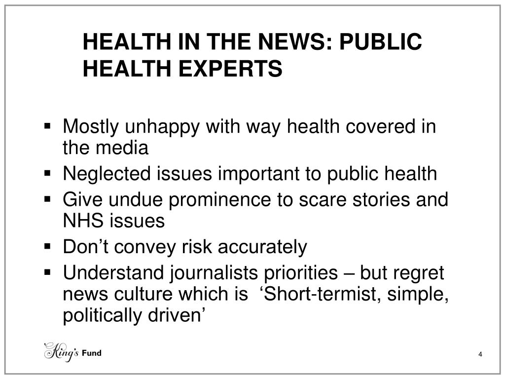HEALTH IN THE NEWS: PUBLIC HEALTH EXPERTS