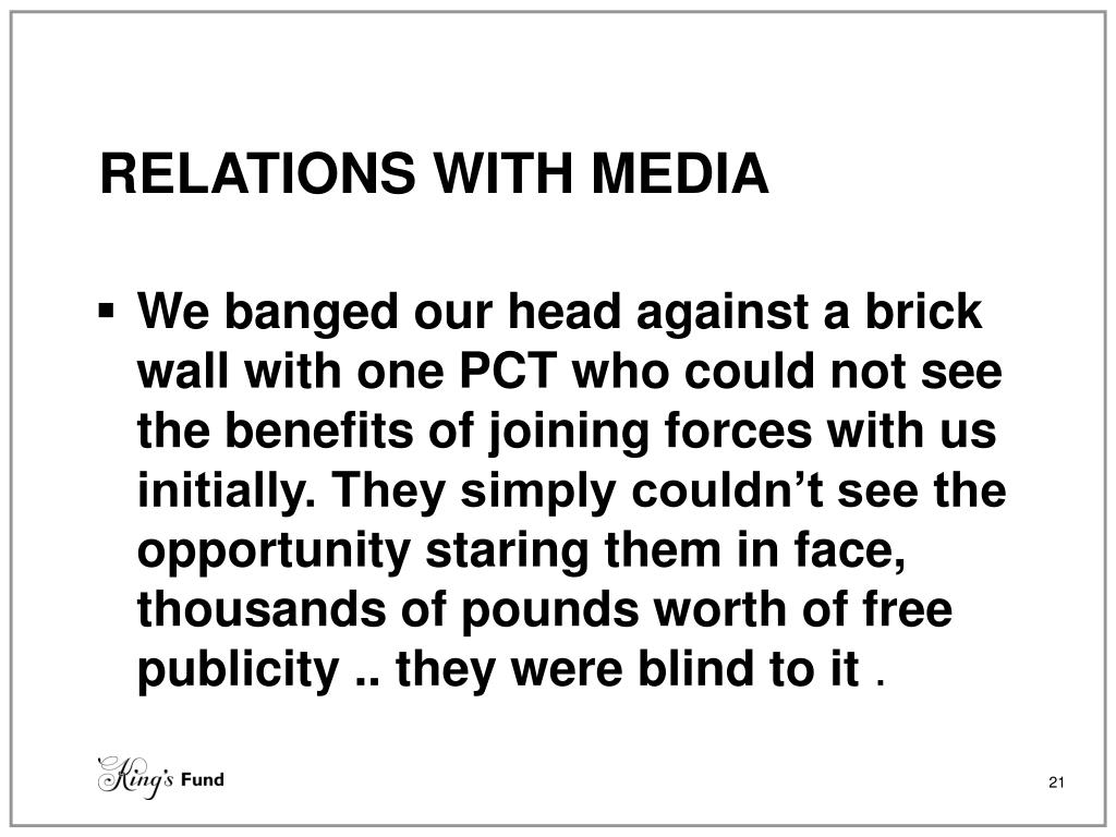 RELATIONS WITH MEDIA