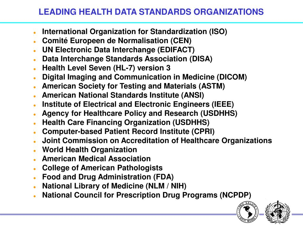 LEADING HEALTH DATA STANDARDS ORGANIZATIONS