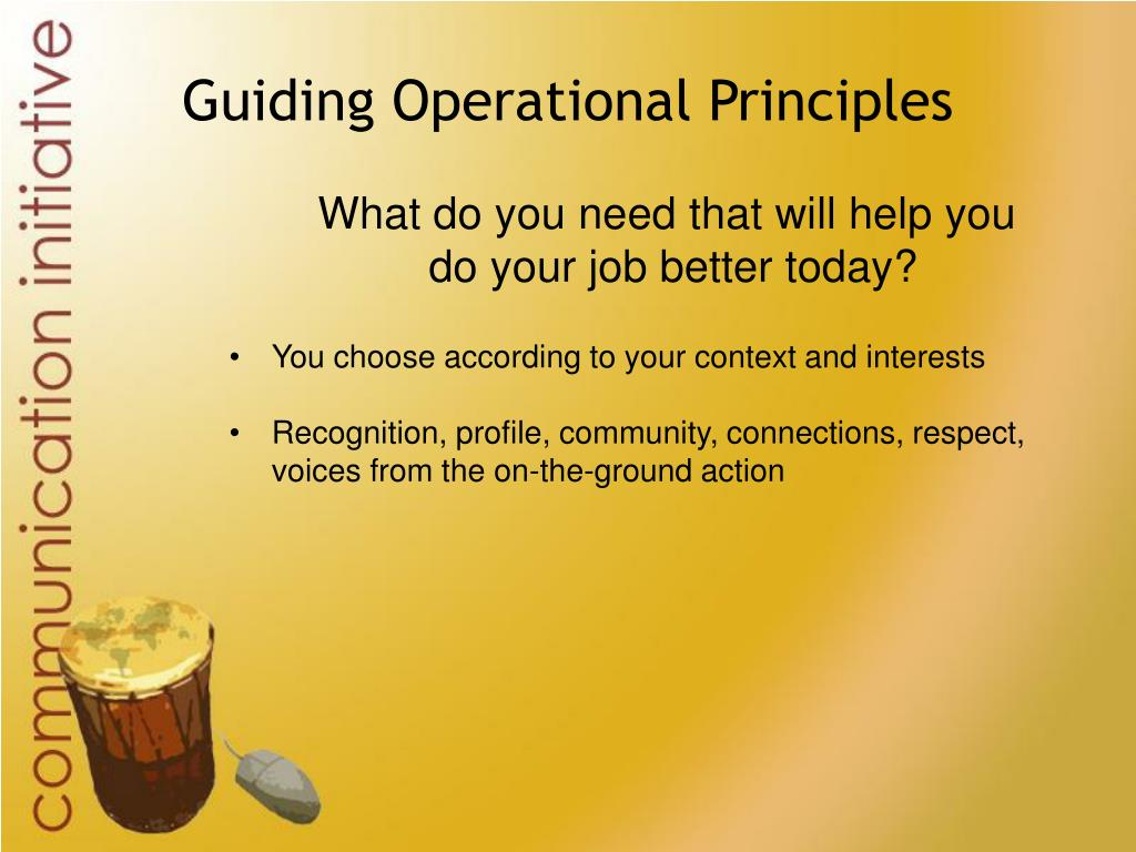 Guiding Operational Principles
