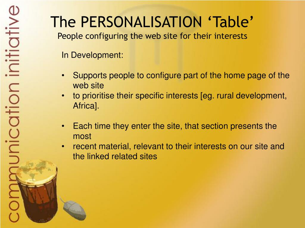 The PERSONALISATION 'Table'