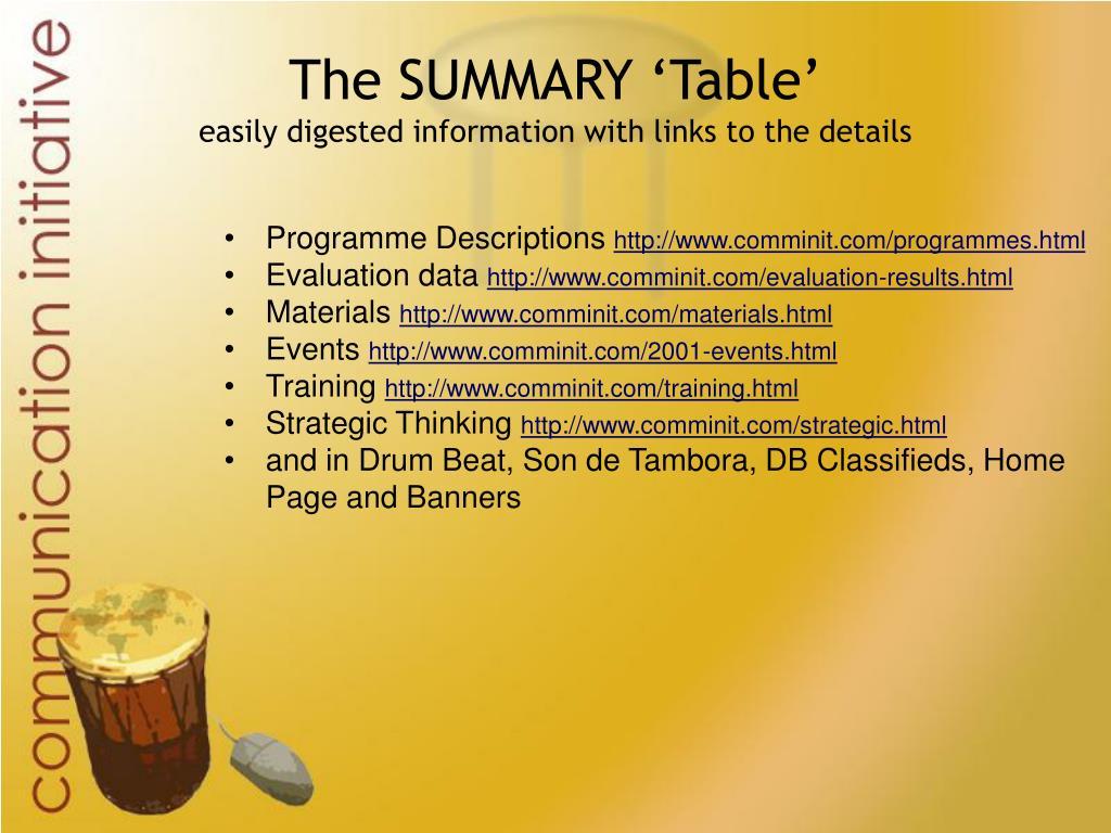 The SUMMARY 'Table'