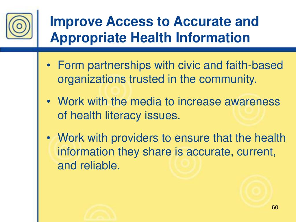 Improve Access to Accurate and Appropriate Health Information