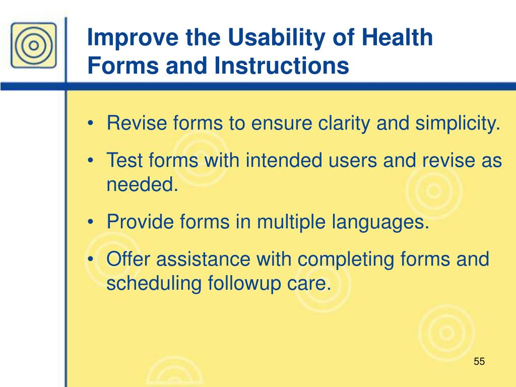 Improve the Usability of Health Forms and Instructions