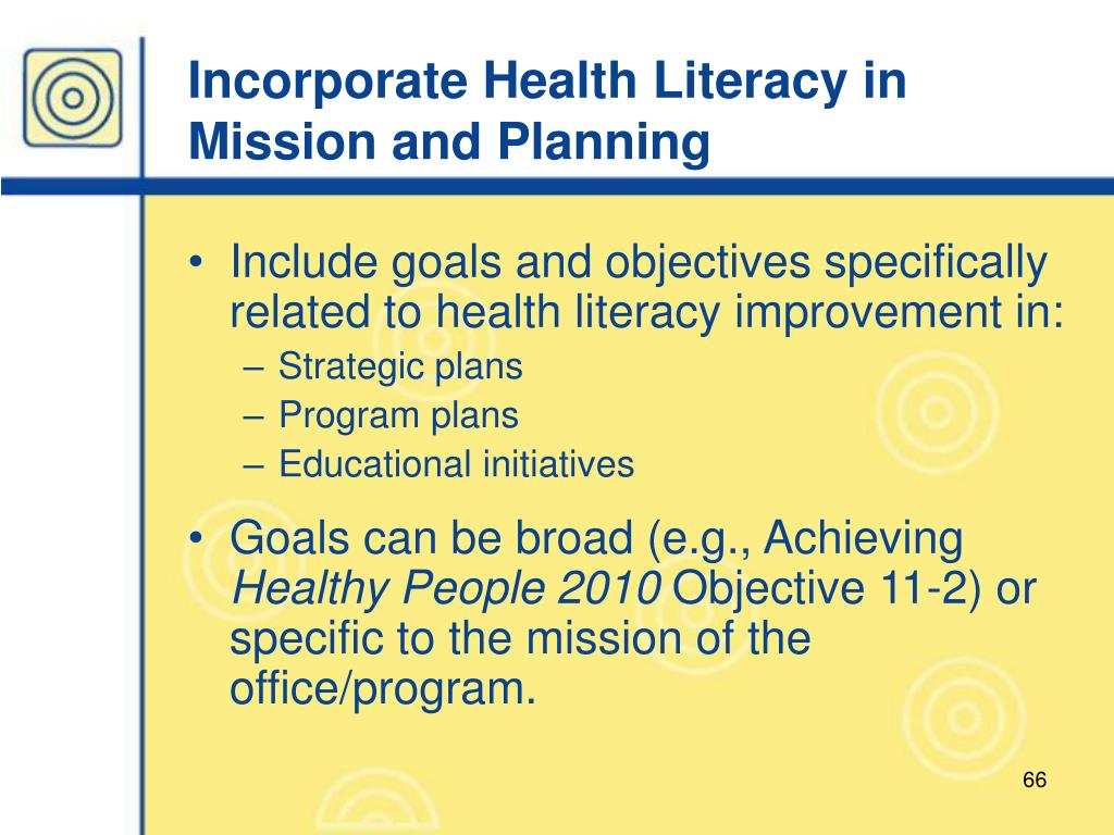 Incorporate Health Literacy in Mission and Planning