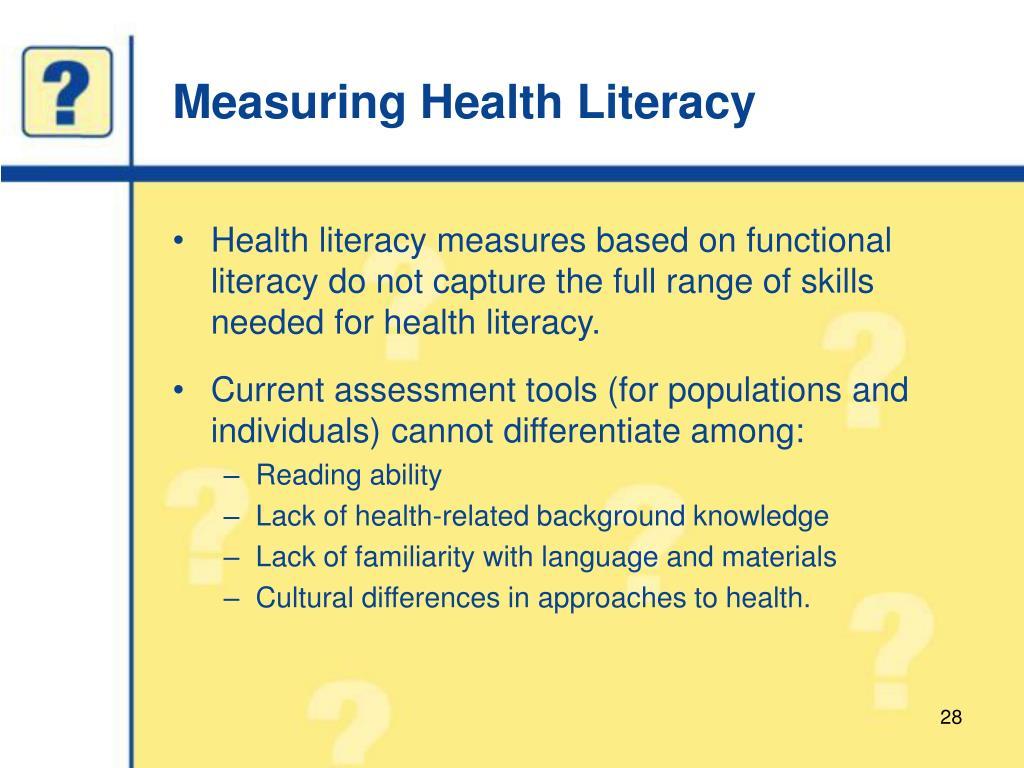 Measuring Health Literacy