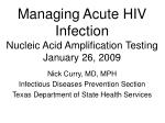 managing acute hiv infection nucleic acid amplification testing january 26 2009