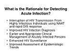 what is the rationale for detecting acute infection