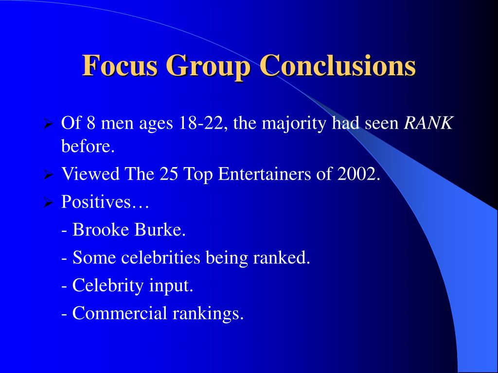 Focus Group Conclusions