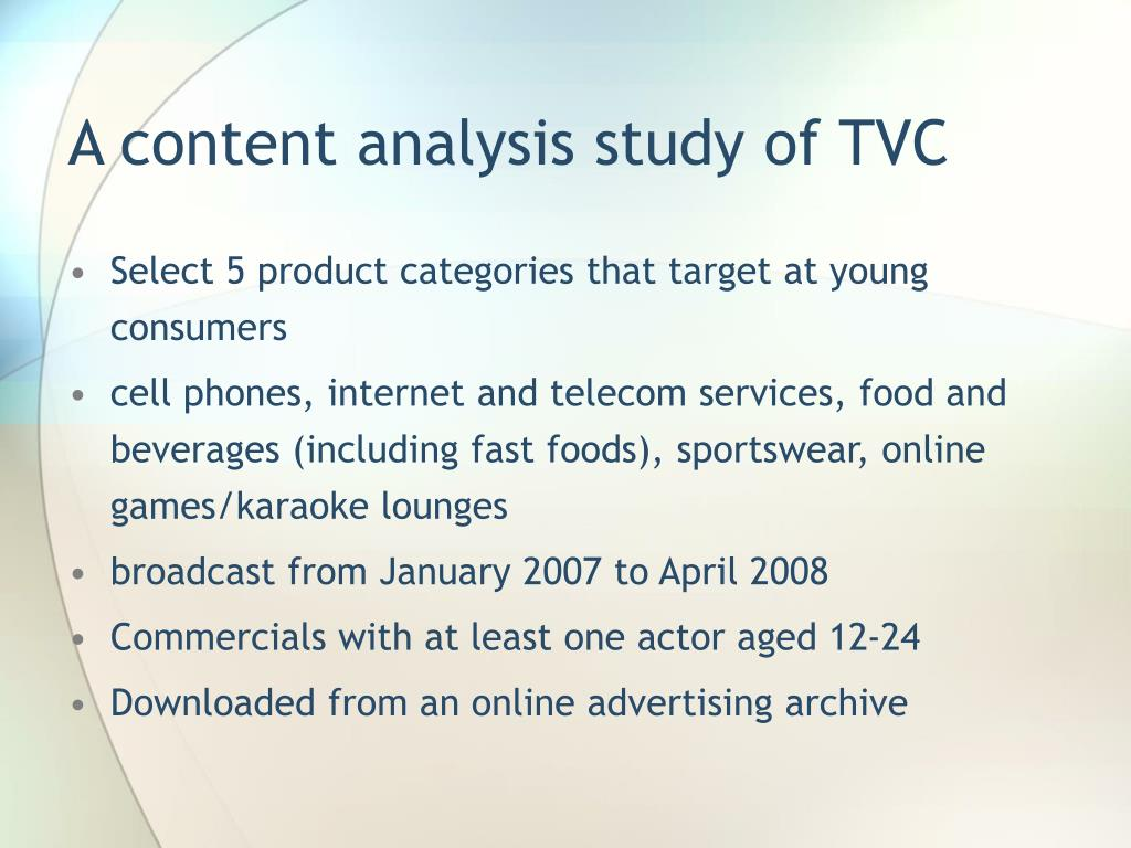 A content analysis study of TVC