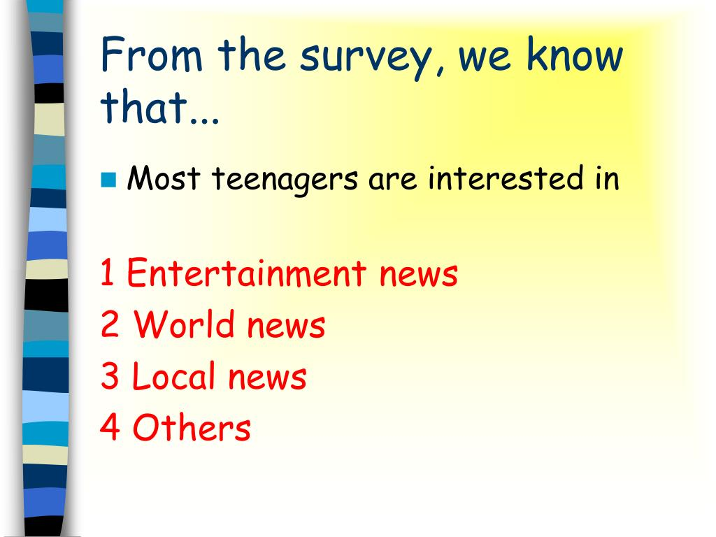 From the survey, we know that...