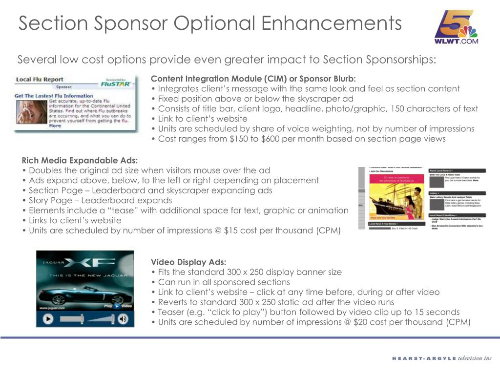 Section Sponsor Optional Enhancements