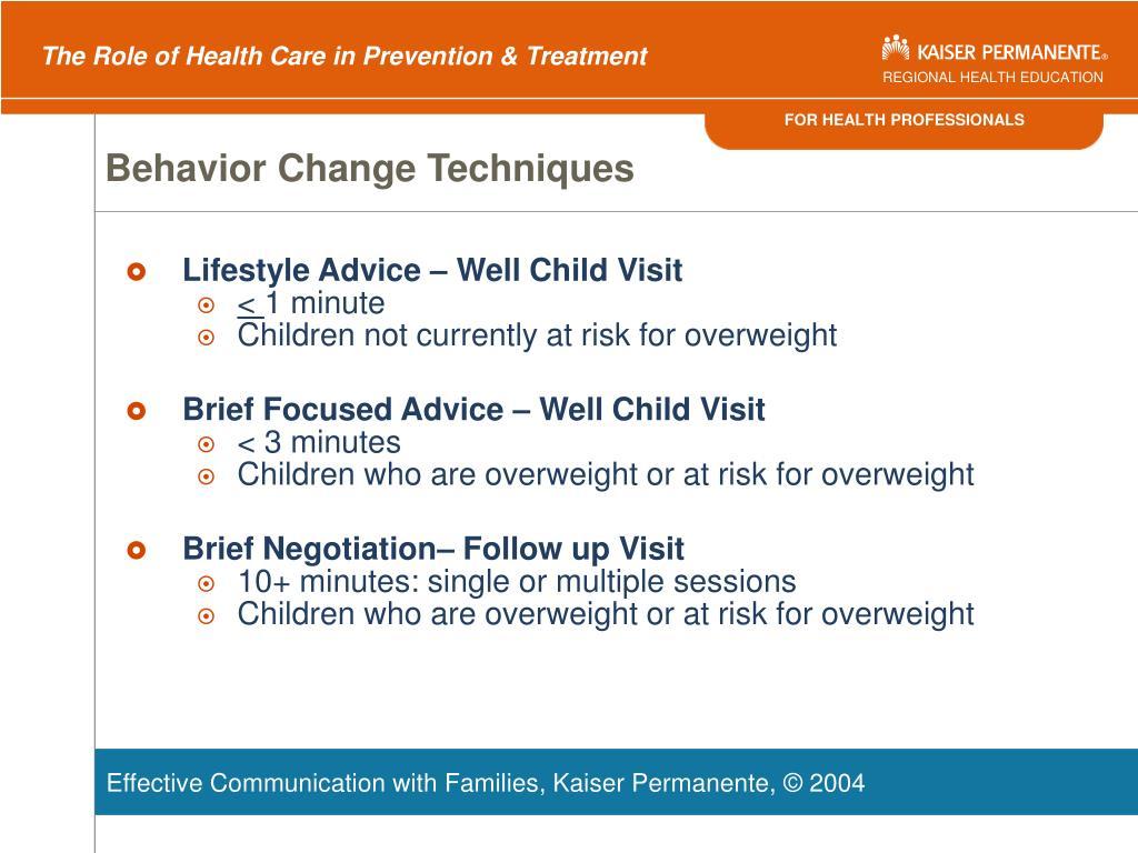 Behavior Change Techniques