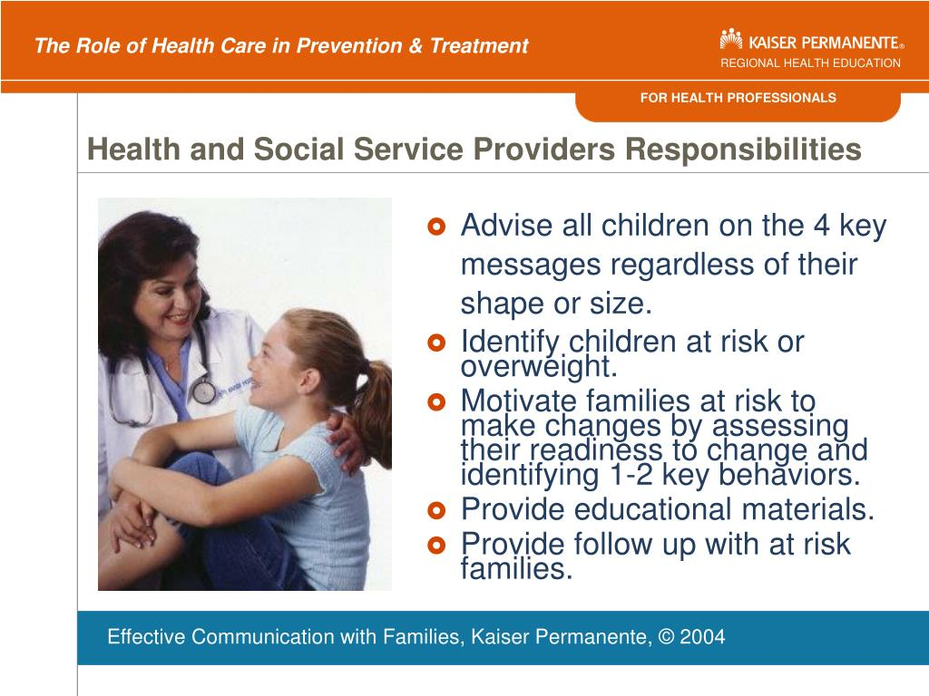 Health and Social Service Providers Responsibilities