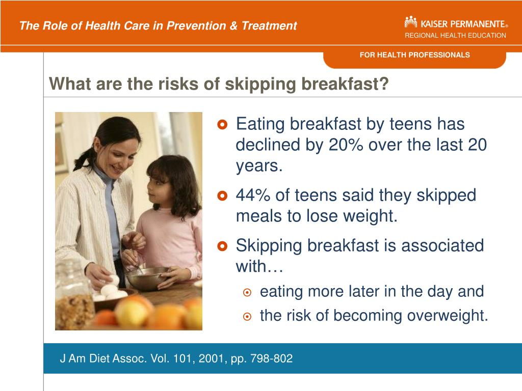 What are the risks of skipping breakfast?