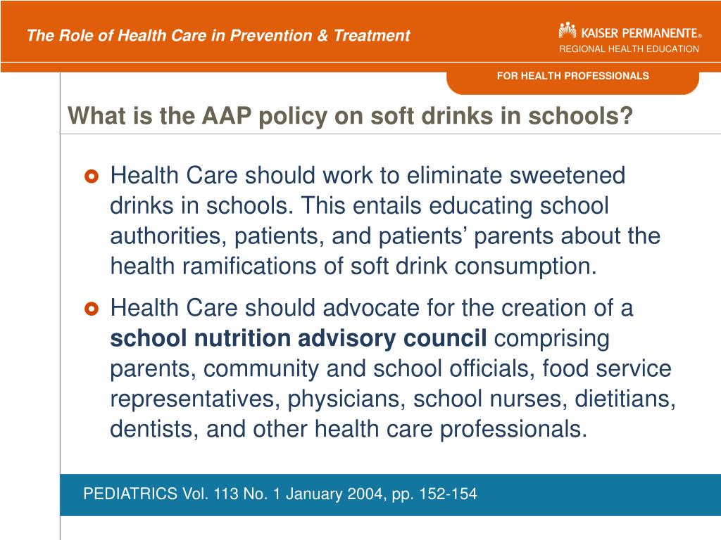 What is the AAP policy on soft drinks in schools?