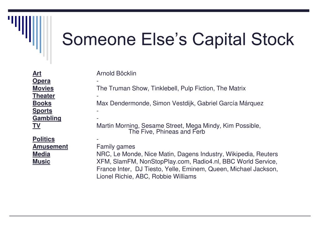 Someone Else's Capital Stock
